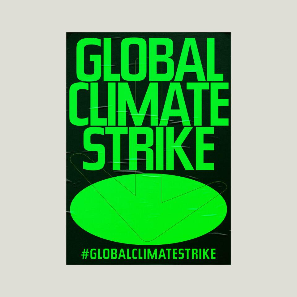 Büro Gestalten: Open Source Poster-Design zum selbst ausdrucken und individualisieren für #globalclimatestrike (Global Climate Strike, Schwarz auf Neongrün Affiche auf Beige)