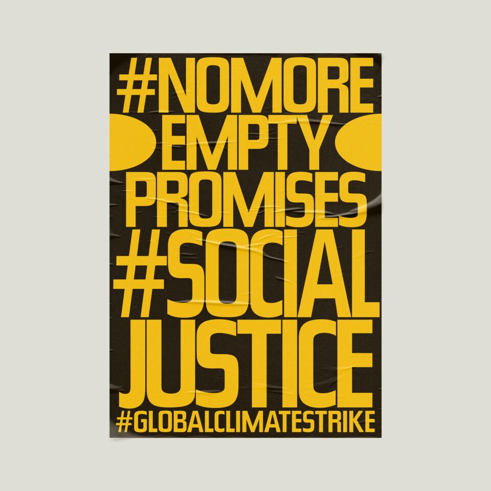 Büro Gestalten: Open Source Poster-Design zum selbst ausdrucken und individualisieren für #globalclimatestrike (#nomoreemptypromises #socialjustice, Schwarz auf Neonorange Affiche auf Beige)