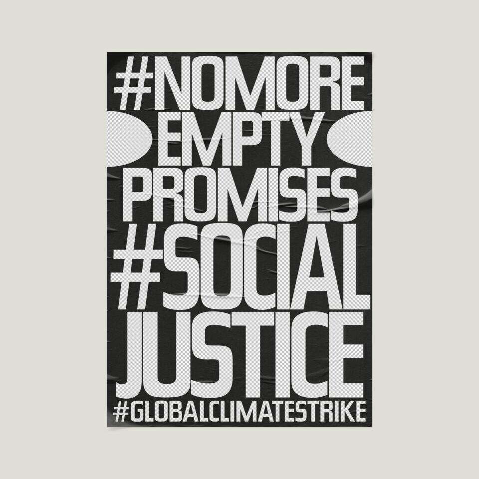 Büro Gestalten: Open Source Poster-Design zum selbst ausdrucken und individualisieren für #globalclimatestrike (#nomoreemptypromises #socialjustice, Schwarz & Transparent auf Beige)