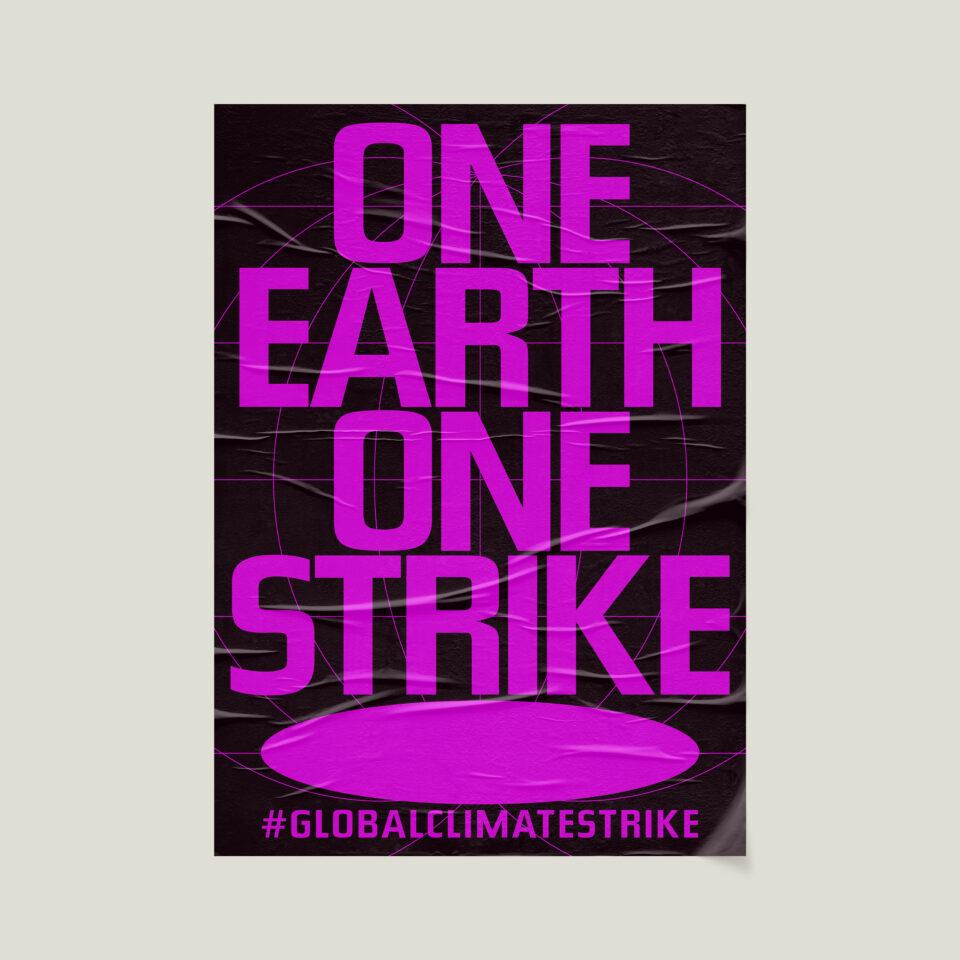 Büro Gestalten: Open Source Poster-Design zum selbst ausdrucken und individualisieren für #globalclimatestrike (One Earth One Strike, Schwarz auf Neonpink Affiche auf Beige)