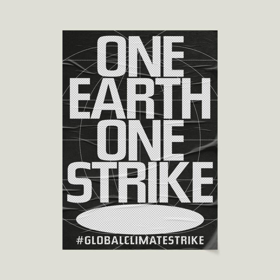 Büro Gestalten: Open Source Poster-Design zum selbst ausdrucken und individualisieren für #globalclimatestrike (One Earth One Strike, Schwarz & Transparent auf Beige)