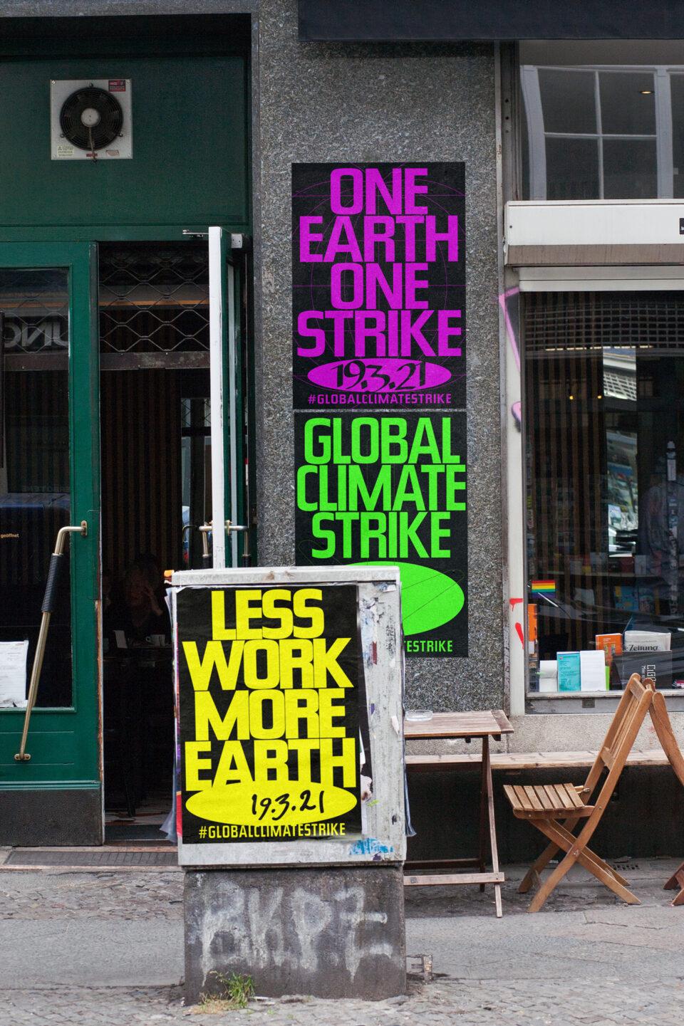 Büro Gestalten: Open Source Poster-Design zum selbst ausdrucken und individualisieren für #globalclimatestrike (3 Motive Straßen-Mockup, hochformatig)