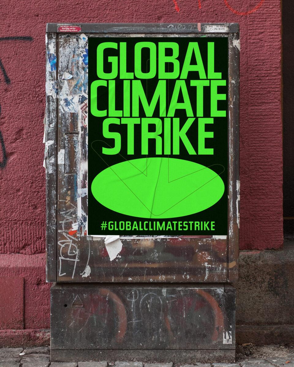 Büro Gestalten: Open Source Poster-Design zum selbst ausdrucken und individualisieren für #globalclimatestrike (Global Climate Strike, Schwarz auf Neongrün Affiche auf Stromkasten)