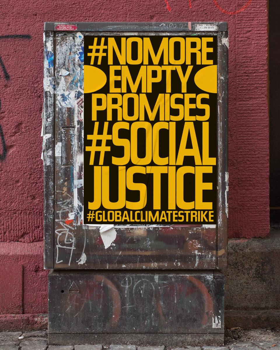 Büro Gestalten: Open Source Poster-Design zum selbst ausdrucken und individualisieren für #globalclimatestrike (#nomoreemptypromises #socialjustice, Schwarz auf Neonorange Affiche auf Stromkasten)