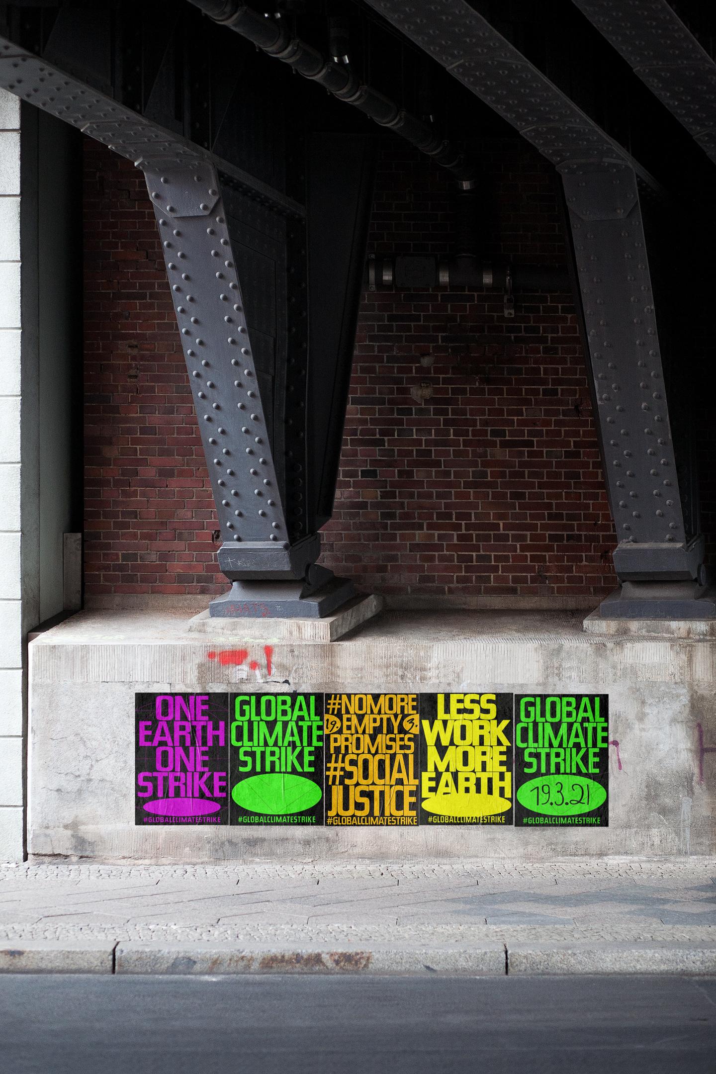 Büro Gestalten: Open Source Poster-Design zum selbst ausdrucken und individualisieren für #globalclimatestrike (5 Motive Straßen-Mockup, Brücke, hochformatig)