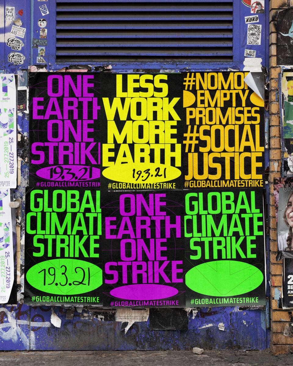 Büro Gestalten: Open Source Poster-Design zum selbst ausdrucken und individualisieren für #globalclimatestrike (6 Motive Straßen-Mockup, hochformatig)