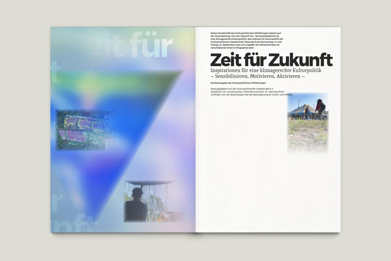 Büro Gestalten: Zeit für Zukunft – Sonderpublikation der Kulturpolitischen Gesellschaft Bonn anlässlich der gleichnamigen Summerschool 2020, U2 + S. 1