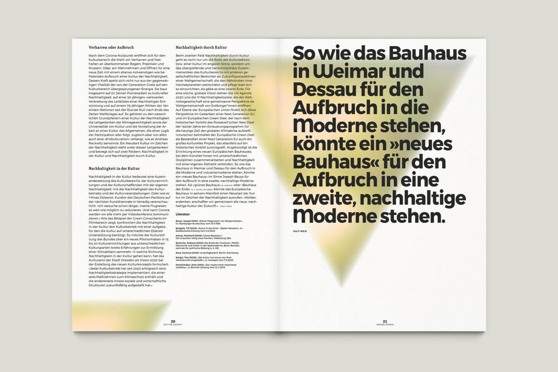 Büro Gestalten: Zeit für Zukunft – Sonderpublikation der Kulturpolitischen Gesellschaft Bonn anlässlich der gleichnamigen Summerschool 2020, S. 20–21