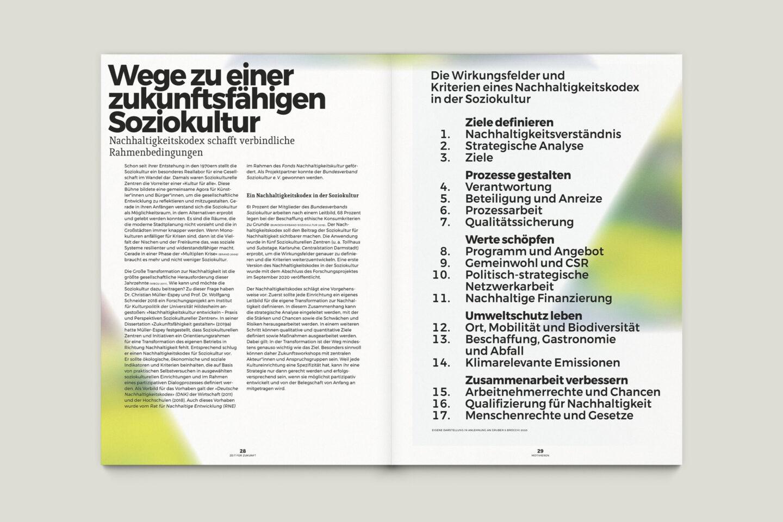 Büro Gestalten: Zeit für Zukunft – Sonderpublikation der Kulturpolitischen Gesellschaft Bonn anlässlich der gleichnamigen Summerschool 2020, S. 28–29
