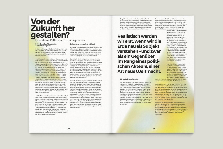 Büro Gestalten: Zeit für Zukunft – Sonderpublikation der Kulturpolitischen Gesellschaft Bonn anlässlich der gleichnamigen Summerschool 2020, S. 48–49