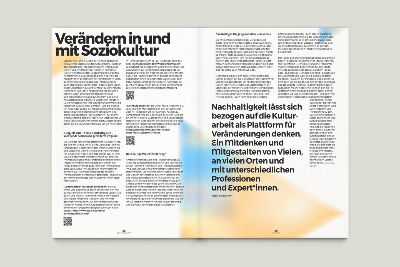 Büro Gestalten: Zeit für Zukunft – Sonderpublikation der Kulturpolitischen Gesellschaft Bonn anlässlich der gleichnamigen Summerschool 2020, S. 58–59
