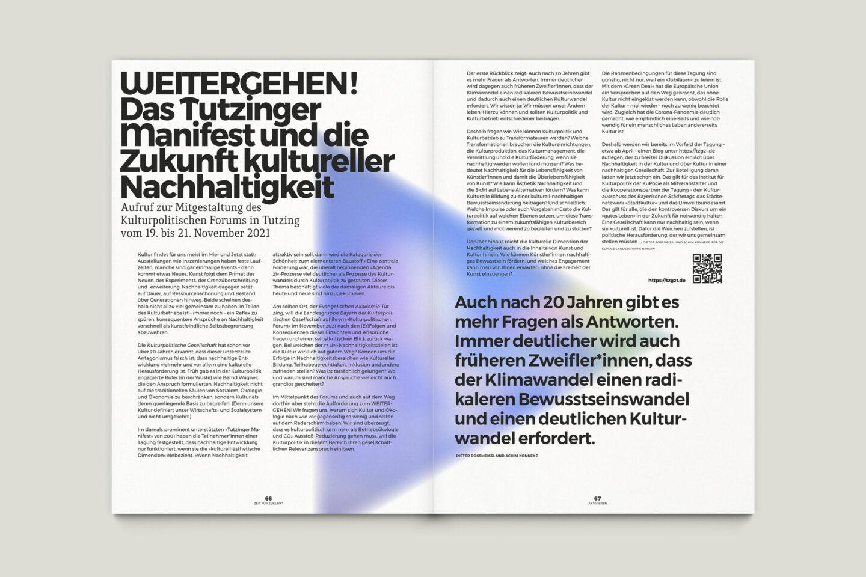 Büro Gestalten: Zeit für Zukunft – Sonderpublikation der Kulturpolitischen Gesellschaft Bonn anlässlich der gleichnamigen Summerschool 2020, S. 66–67