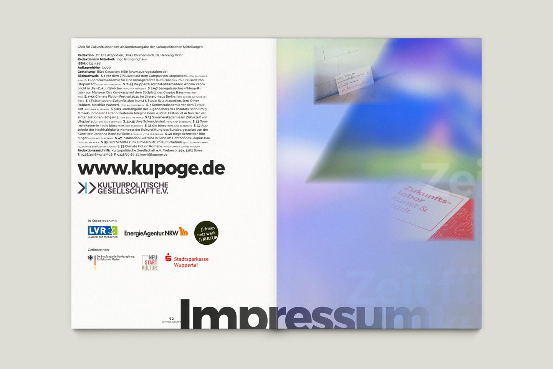 Büro Gestalten: Zeit für Zukunft – Sonderpublikation der Kulturpolitischen Gesellschaft Bonn anlässlich der gleichnamigen Summerschool 2020, S. 72 + U3