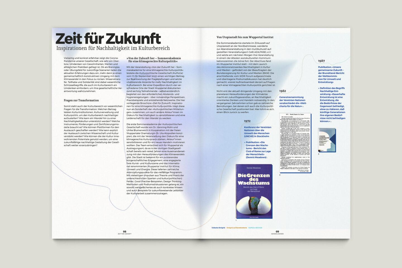 Büro Gestalten: Zeit für Zukunft – Sonderpublikation der Kulturpolitischen Gesellschaft Bonn anlässlich der gleichnamigen Summerschool 2020, S. 8–9