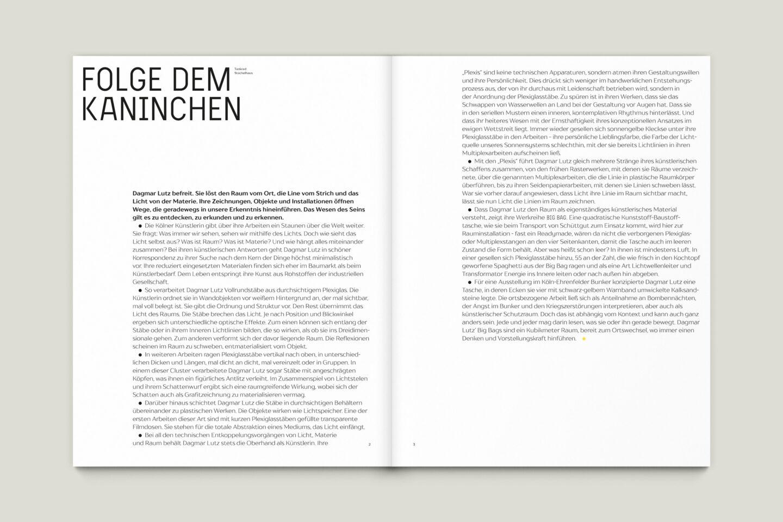 Kunstkatalog für Dagmar Lutz: Linie Raum Licht (Bsp. Innenseite 1/12)
