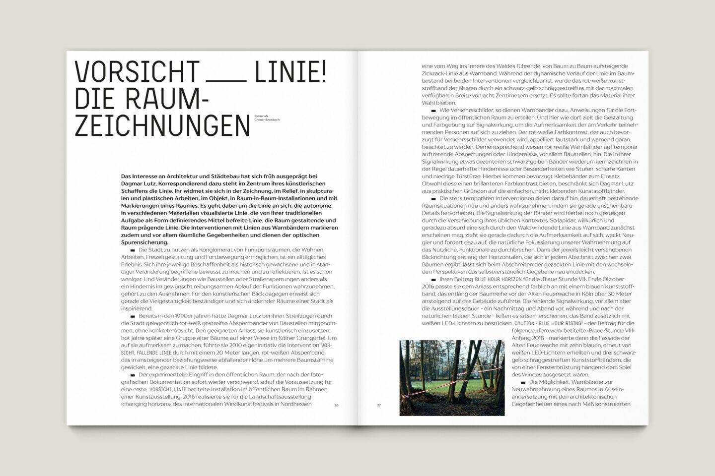 Kunstkatalog für Dagmar Lutz: Linie Raum Licht (Bsp. Innenseite 6/12)