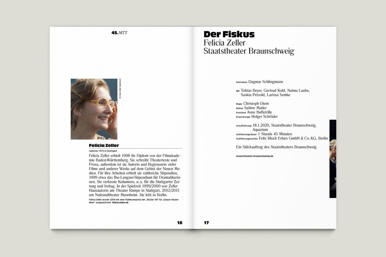 Programmbroschur Stücke 45 – Mülheimer Theatertage 2020 S. 16-17