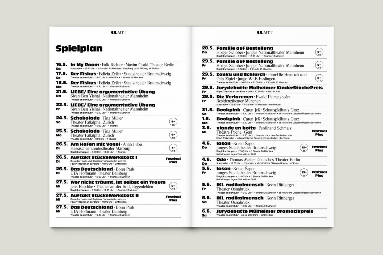 Programmbroschur Stücke 45 – Mülheimer Theatertage 2020 S. 2-3