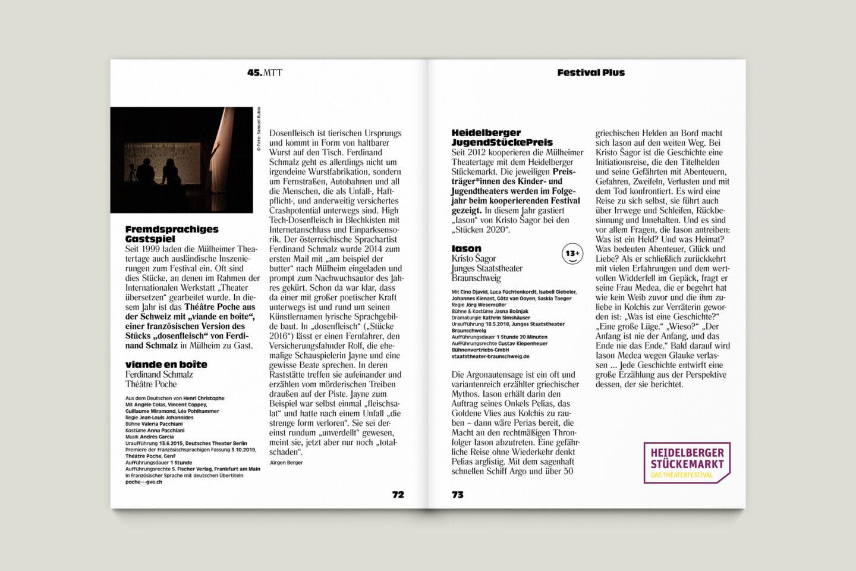 Programmbroschur Stücke 45 – Mülheimer Theatertage 2020 S. 72-73