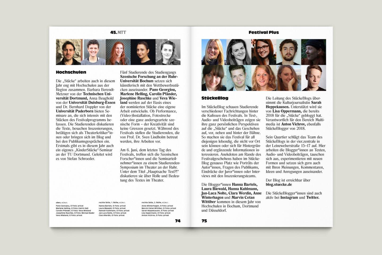 Programmbroschur Stücke 45 – Mülheimer Theatertage 2020 S. 74-75