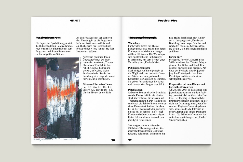 Programmbroschur Stücke 45 – Mülheimer Theatertage 2020 S. 76-77